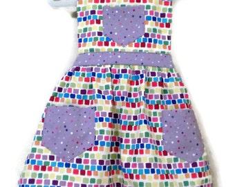 Squares Apron, Children's Apron, Toddler apron, Girl Apron, Baking Apron, Cooking Apron, Kids Apron, Little Girls Apron, Retro Style Apron