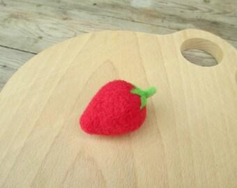Felt strawberry, Needle felted strawberry, Needle felted fruit, Felted food, Felt play food fruit, Wool felt food , Fake food strawberries