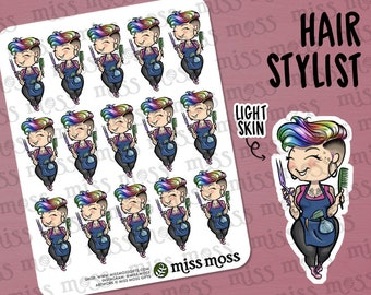 Hair Dresser Stylist Girl Barber Esthetician Planner Stickers, LIGHT SKIN, Plus Size Curvy, Caucasian Asian White