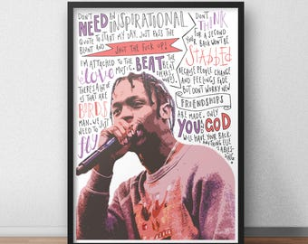 Travis Scott quote print / poster hand drawn type / typography