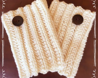 Womens Handmade Crochet Ribbed Creme Boot Cuff With Buttons