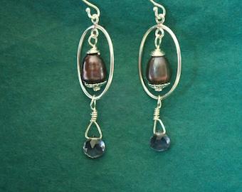 Purple Pearl Iolite Earrings