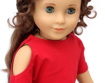 SAMPLE SALE - Fits like American Girl Doll Clothes - Short Sleeve Open Shoulder Banded Top in Dark Red | 18 Inch Doll Clothes