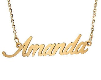 personalized name necklace pendant , custom name gifts , your name jewelry , letter necklace , initial necklace Amanda