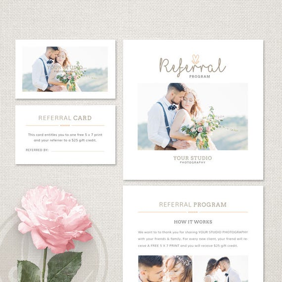 photography referral card template wedding photography