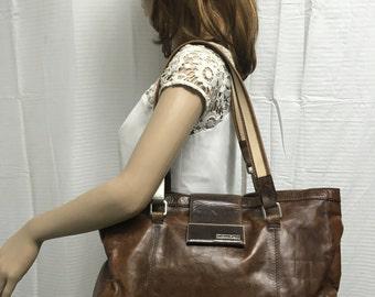Calvin Klein, large, brown, leather, purse bag, shoulder bag