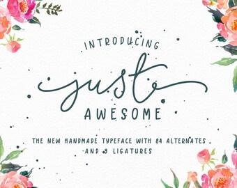 Just Awesome Typeface+Bonus/modern script/monoline font/Script font