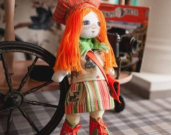 """Doll Making Kit, Set for sewing doll, Textile doll """"Traveler"""", Set for textile doll, Handmade doll, Sewing kit, FREE SHIPPING"""