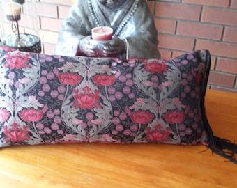 Bolster pillow with black eyelash fringe 60cm x 30cm