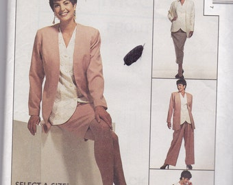 McCalls 6895 Vintage Pattern Womens Unlined Jacket, Vest, Skirt in 2 Lengths and Pants In Variations Size 22,24,26 UNCUT