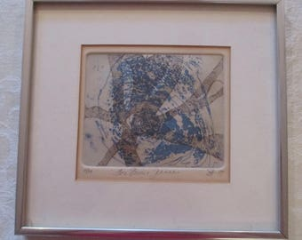 Mid Century S. Acheson Abstract Etching Print Signed & Dated 1974