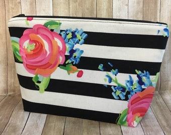 Floral Makeup Bag, Floral Cosmetic Bag,Bridesmaid, Floral Toiletry Bag,Watercolor Roses,Pretty Makeup Bag
