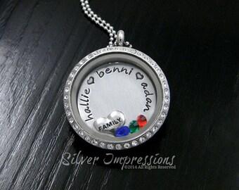 Mom Floating Locket / Grandma Necklace / Hand Stamped Jewelry