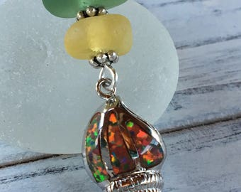 Sea Glass in Autumn Colors of Golden Yellow and Forest Green with Sterling Silver, Fire Opal Sea Shell Pendant