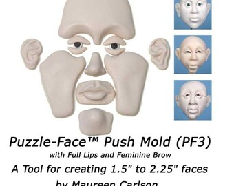 PF3 - Puzzle face mold with Full Lips and Feminine Brow for creating clay faces by Maureen Carlson and Wee Folk Creations