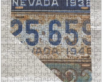 Nevada Jigsaw Puzzle   Vintage License Plate Art   State Outline   Fun Puzzle