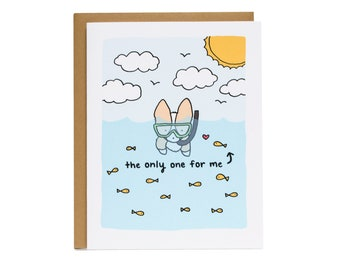 You're the Only One For Me Fishes Card, Valentine Card, Corgi Card, Relationship, Anniversary Card, Valentine, Married, Fishes in the sea