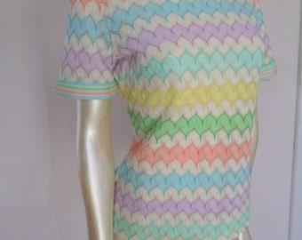 Vintage 70's Bleeker Street Women's Knit Top Size M Vtg