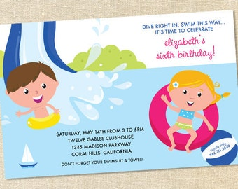 Sweet Wishes Childrens Waterslide Pool Party Invitations - PRINTED - Digital File Also Available