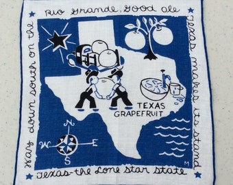Vintage Cocktail Napkin Texas Grapefruit State Map Retro Souvenir Funny