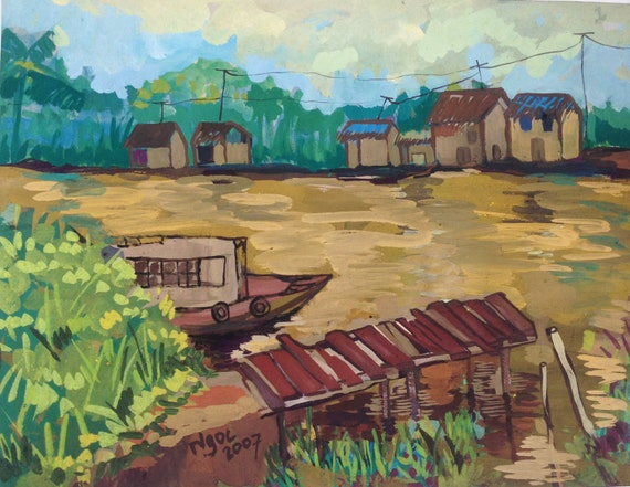 """RIVER DOCK 20x16"""" gouache on paper, live painting, Mekong Delta (Cần Thơ Province), original by Nguyen Ly Phuong Ngoc"""