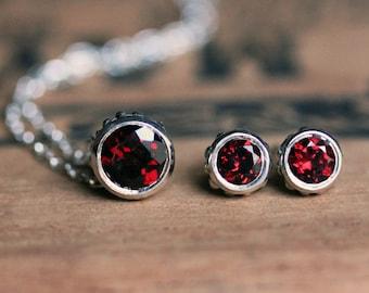 Garnet jewelry, necklace earring set, earring necklace set, January birthstone necklace, garnet stud earrings, slide necklace, ready to ship