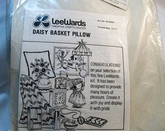 Crewel Embroidery Kit, LeWards, Crewel Pillow Kit, Daisy Basket Pillow Kit, Vintage Embroidery Kit, Embroidery Supplies, Stamped Embroidery