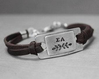Sigma Alpha Bracelet, Sorority Jewelry, Sigma Alpha Leather Bracelet, Pewter Bracelet, Sorority Bracelet, Hand Stamped Bracelet,