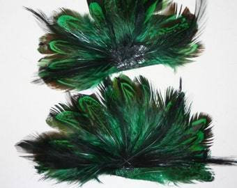 Original Rooster Feather Emerald Green Bundle - approx 4 inches - 2 pcs