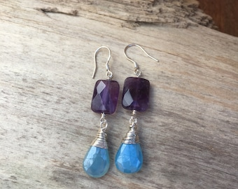 Amethyst  Earrings Wire Wrapped Chalcedony Earrings Purple Blue Birthstone Dangle Earrings