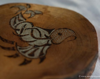 Pyrography wood slice: Fish design