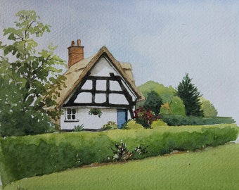 Thatched cottage, Cheshire Village - Charming Original Watercolour Painting - English Landscapes - Fine Art - Garden Lover's Gifts