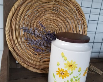 Vintage Hyalyn Pottery Canister with Yellow and Orange Flowers and Wood Lid Stamped on the Bottom #925