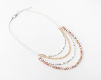 Pink white stone necklace with cream crystal, silver plated beads on silk thread, multi strands