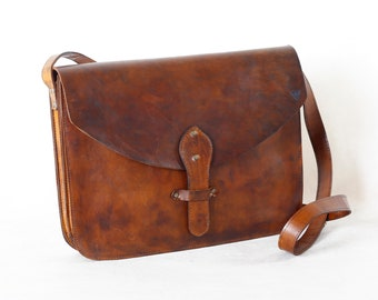 Messenger bag, Leather bag, Brown bag, Unisex, Leather briefcase, Adjustable strap