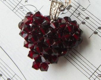 Swarovski Puffed HEART Necklace Garnet