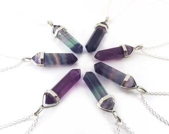 Rainbow Flourite Gemstone Crystal Pendant Necklace - Crystal Point Necklace - Sterling Silver Necklace - Simple Everyday Jewelry - Gift