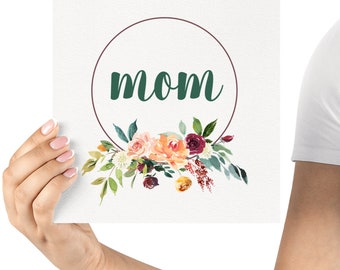 """2 for 1! - Instant Digital Printable - Mother's Day Print Gift Idea - Teal """"Mom"""" Floral Wreath"""