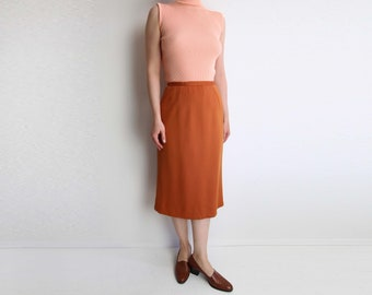 VINTAGE Skirt Orange Skirt 1960s A Line Skirt Mid Length Small