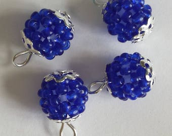 4 pendants (2mm) seed beads transparent Navy Blue