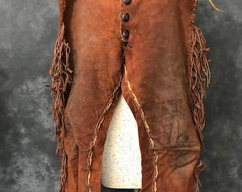 Vintage rust red rough out fringed suede leather pants leather stocking Large XL