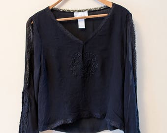Women's vintage black shirt / grunge / long sleeve / 100% silk / gypsy / large