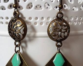 Bronze and green diamonds earrings