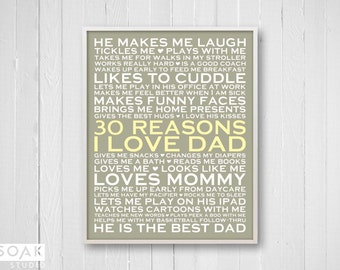 30 Reasons I Love Dad, Personalized Gift for Dad, 8x10, Fathers Day Gift, 30th Birthday Present, New Dad Gift, Personalised List Print Khaki