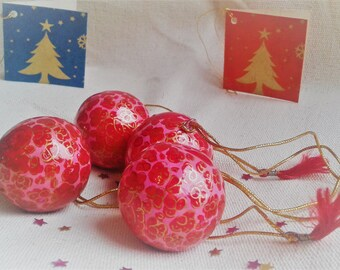 The Lot of 4 balls of Christmas Craft(Home-made) Christmas decoration
