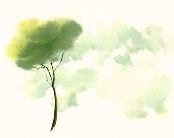 Tree Artwork Fine Art Print from Original Watercolor Lonely Tree