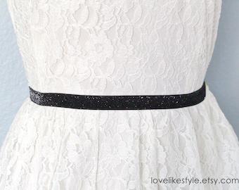Skinny Black Gltter Elastic Lace Belt, Bridal Black Belt , Bridesmaid Black Belt,  Sash Belt