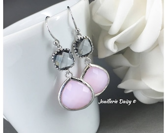 Pink and Grey Earrings Pink Earrings Bridesmaid Gift Maid of Honor Jewelry Mother of Groom Gift Mother of Bride Gift Charcoal Wedding