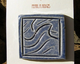 Handmade Ceramic Tile - Blue Wave