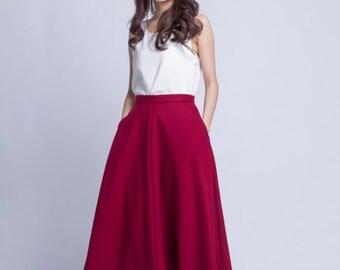 Burgundy Wool Skirt Midi Winter Skirt